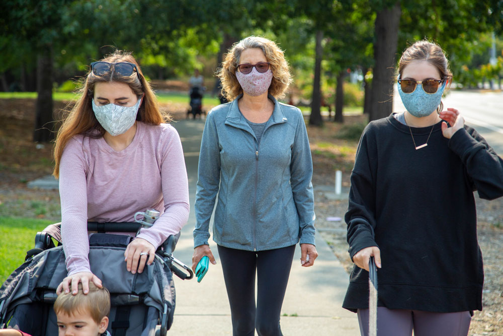 Group of women wearing best design face masks and roaming in garden | Out and About Supply